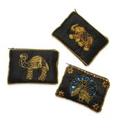 Set of 3 Black Embroidered Beaded Coin Purse