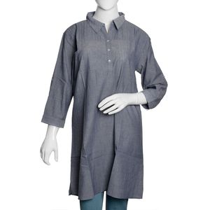 Blue 100% Cotton Chambray Tunic with Button and Collar (Size 20)