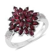 Anthill Garnet, Cambodian Zircon Platinum Over Sterling Silver Ring (Size 5.0) TGW 2.70 cts.