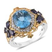 Marambaia Topaz, Catalina Iolite, Cambodian Zircon 14K YG and Platinum Over Sterling Silver Butterfly Ring (Size 10.0) TGW 8.03 cts.