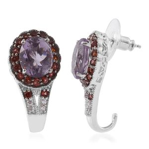 Rose De France Amethyst, Mozambique Garnet, Cambodian Zircon Platinum Over Sterling Silver J-Hoop Earrings TGW 9.07 cts.