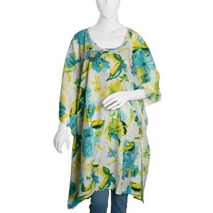 Aqua Blue and White Floral Printed 100% Rayon Poncho (One Size)