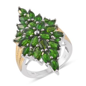 Russian Diopside 14K YG and Platinum Over Sterling Silver Elongated Ring (Size 9.0) TGW 7.35 cts.