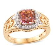 Mystic Twilight Topaz, Cambodian Zircon 14K YG Over Sterling Silver Ring (Size 7.0) TGW 3.20 cts.