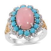 Peruvian Pink Opal, Arizona Sleeping Beauty Turquoise, Cambodian Zircon 14K YG and Platinum Over Sterling Silver Ring (Size 6.0) TGW 6.60 cts.