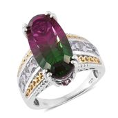 Watermelon Quartz, White Topaz, Ruby 14K YG and Platinum Over Sterling Silver Ring (Size 8.0) TGW 12.94 cts.