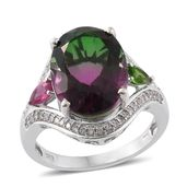 Watermelon Quartz, Multi Gemstone Platinum Over Sterling Silver Split Ring (Size 8.0) TGW 11.48 cts.
