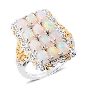 Ethiopian Welo Opal 14K YG and Platinum Over Sterling Silver Elongated Ring (Size 6.0) TGW 4.90 cts.