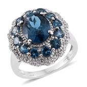 London Blue Topaz, Cambodian Zircon Platinum Over Sterling Silver Ring (Size 7.0) TGW 7.90 cts.