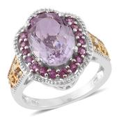 Rose De France Amethyst, Orissa Rhodolite Garnet 14K YG and Platinum Over Sterling Silver Ring (Size 7.0) TGW 6.40 cts.