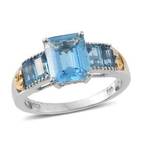 Marambaia Topaz 14K YG and Platinum Over Sterling Silver Bridge Ring (Size 7.0) TGW 5.93 cts.