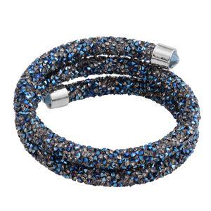 Blue and Grey Austrian Crystal Silvertone Bracelet (6.50 In)
