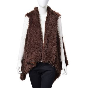 Brown 100% Polyester Faux Fur Reversible Draped Vest (One Size)