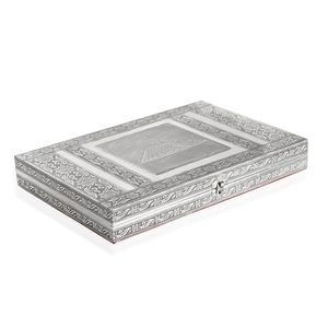 Handcrafted Aluminum Engraved Chichen Itza Jewelry Box with Velvet Interior (Approx 150 Rings) (14.5x2x9.5 in)