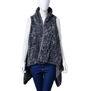 Slate Blue Cozy 100% Polyester Faux Fur Vest (One Size)
