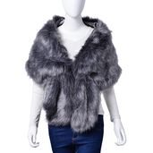 Dark Gray 100% Polyester Faux Fur Stole Wrap with Clip Closure  (60x13in)