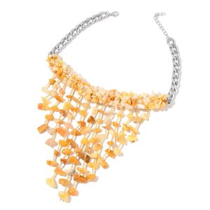 Yellow Aventurine, Yellow Seed Bead Silvertone Fringe Necklace (16 in) TGW 590.00 cts.