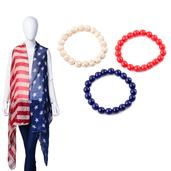 Fire Cracker Deal American Flag Pattern 100% Polyester Vest with Matching Set of 3 Multi Color Howlite Beads Bracelet (Stretchable) TGW 368.00 cts.