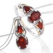 Crimson Fire Opal, Cherry Fire Opal 14K YG and Platinum Over Sterling Silver Ring (Size 9) and Pendant With Chain (20 in) TGW 1.42 cts.