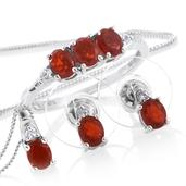 Crimson Fire Opal, Cambodian Zircon Platinum Over Sterling Silver Earrings, Ring (Size 9) and Pendant With Chain (20 in) TGW 1.75 cts.