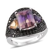 Anahi Ametrine, Multi Gemstone Platinum Over Sterling Silver Ring (Size 7.0) TGW 6.94 cts.