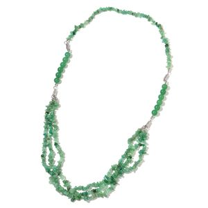 Multi-Wear Green Aventurine Silvertone Magnetic Clasp Jewelry Set (Bracelets, Necklace) TGW 735.00 cts.