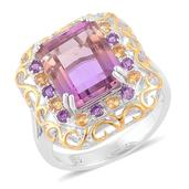 Anahi Ametrine, Brazilian Citrine, Amethyst 14K YG Over and Sterling Silver Ring (Size 9.0) TGW 7.53 cts.