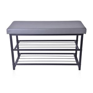 Gray Faux Leather Double Layer Storage Bench (31x12x18 in)