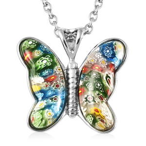 Murano Millefiori Glass Stainless Steel Butterfly Pendant With Chain (24 in)
