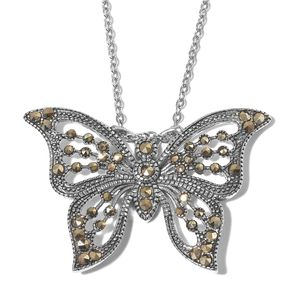Swiss Marcasite Stainless Steel Butterfly Pendant With Chain (20 in) TGW 0.50 cts.