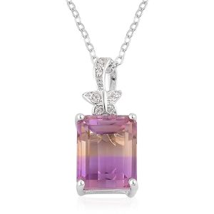 Anahi Ametrine, White Zircon Sterling Silver Pendant With Chain (18 in) TGW 4.40 cts.