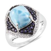 Larimar, Catalina Iolite, Cambodian Zircon Platinum Over Sterling Silver Ring (Size 6.0) TGW 7.82 cts.