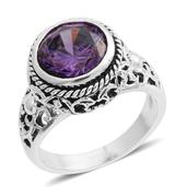Simulated Purple Diamond Silvertone Ring (Size 7.5) TGW 4.32 cts.