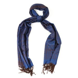 Royal Blue and Taupe Chequer Pattern 100% Viscose Scarf (74x28 in)