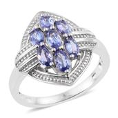Tanzanite Platinum Over Sterling Silver Ring (Size 6.0) TGW 1.70 cts.