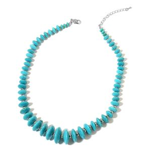 Magnesite Silvertone Necklace (18 in) TGW 350.00 cts.