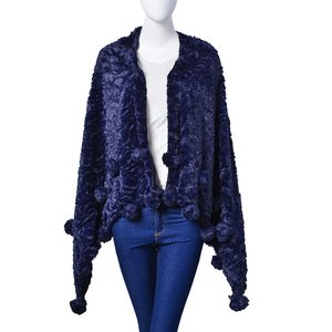 Navy 100% Polyester and Faux Fur Rose Pattern Pom Pom Stole (60x32 in)