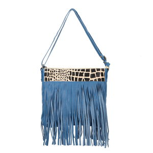 Lifestyle Must Have Royal Blue Genuine Leather RFID Fringe Crossbody Messenger Bag (12x1.5x11 in)
