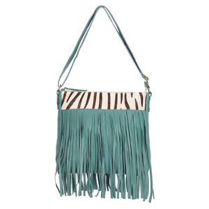 Teal Genuine Leather RFID Braided Sling Bag with Fringe (11x2.25 x10.25 in)