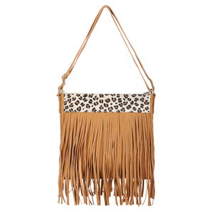 Lifestyle Must Have Tan Genuine Leather RFID Fringe Crossbody Messenger Bag(12x1.5x11 in)