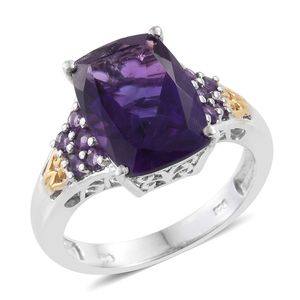 Lusaka Amethyst 14K YG and Platinum Over Sterling Silver Ring (Size 8.0) TGW 6.80 cts.
