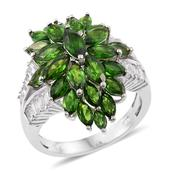 Russian Diopside, White Topaz Platinum Over Sterling Silver Ring (Size 8.0) TGW 7.80 cts.