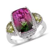 Watermelon Quartz, Hebei Peridot, Cambodian Zircon Platinum Over Sterling Silver Ring (Size 10.0) TGW 8.55 cts.