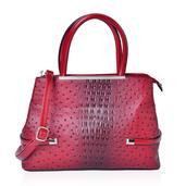 Red Ostrich Skin Pattern Faux Leather Tote Bag (15x5x10.3 in)