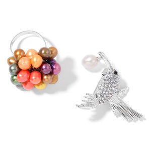 Freshwater Multi Color Pearl, White and Black Austrian Crystal Silvertone Hummingbird Brooch and Ring (Adjustable)