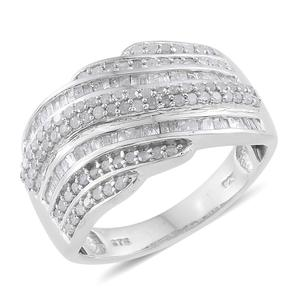 Diamond Platinum Over Sterling Silver Ring (Size 6.0) TDiaWt 0.98 cts, TGW 0.98 cts.