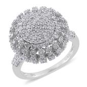 Diamond Platinum Over Sterling Silver Ring (Size 7.0) TDiaWt 1.49 cts, TGW 1.49 cts.