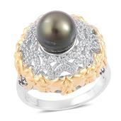Pearl Expression Tahitian Pearl, Thai Black Spinel, White Zircon 14K YG Over and Sterling Silver Ring (Size 7.0) TGW 0.87 cts.