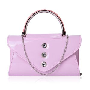 White Austrian Crystal, Pink Faux Patent Leather Envelope Bag with Removeable Chain Strap (45 in)(8.5x2.5 in)