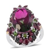 Watermelon Quartz, Multi Gemstone 14K YG and Platinum Over Sterling Silver Floral Elongated Ring (Size 6.0) TGW 18.42 cts.